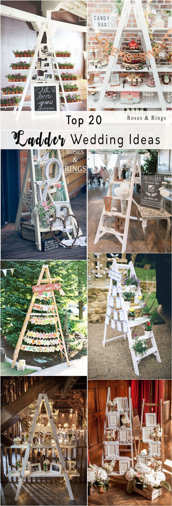 Top 20 Vintage Wooden Ladder Wedding Decor Ideas Roses Rings