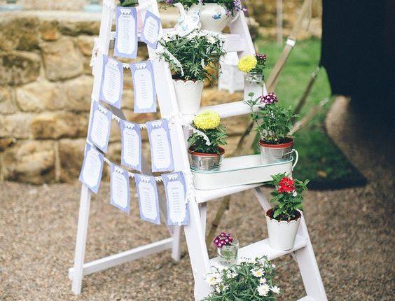 white vintage ladder wedding decor