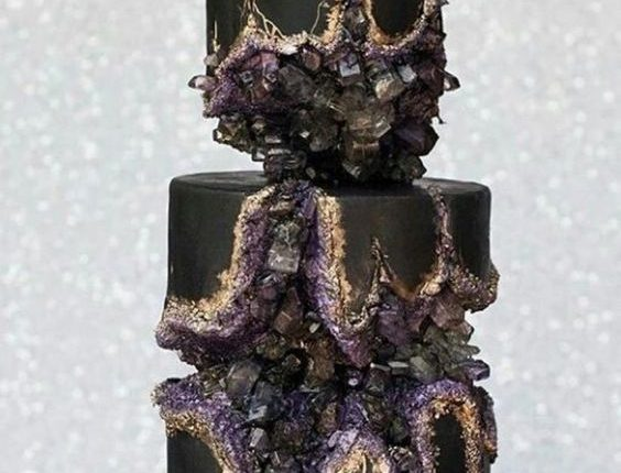 Black geode cake with purple, grey crystals