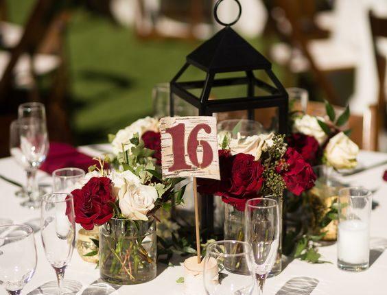 Burgundy Wedding Centerpiece