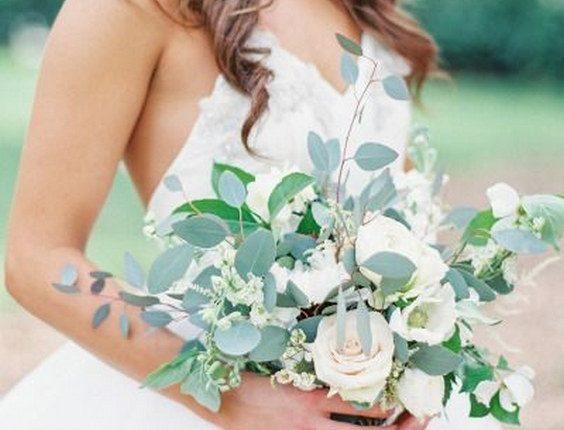 Eucalyptus and rose wedding bouquet