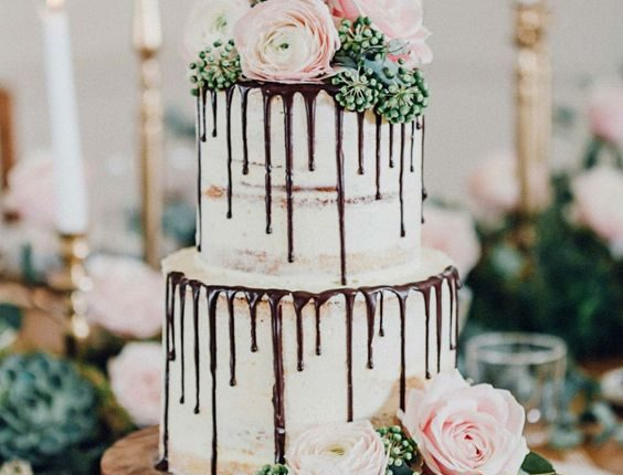 Naked Wedding Cake with Chocolate Drip and Rose
