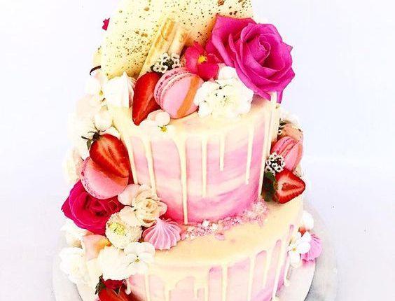 Pink Drip Wedding Cakes