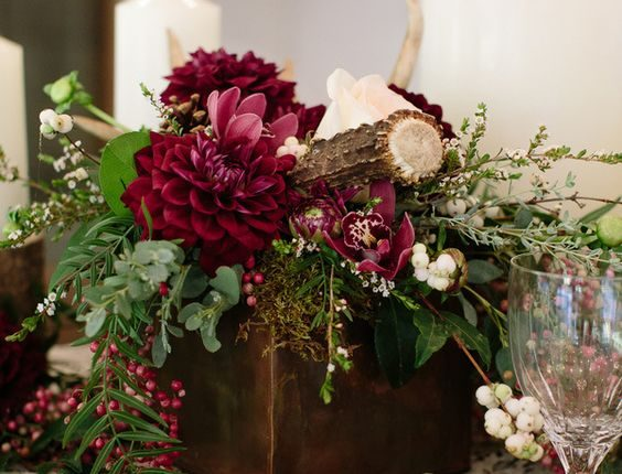 Rustic Wood and Antler Centerpiece with Burgundy Dahlias