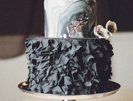 black ruffled wedding cake