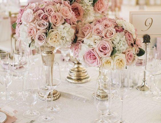 blush pink roses wedding centerpiece
