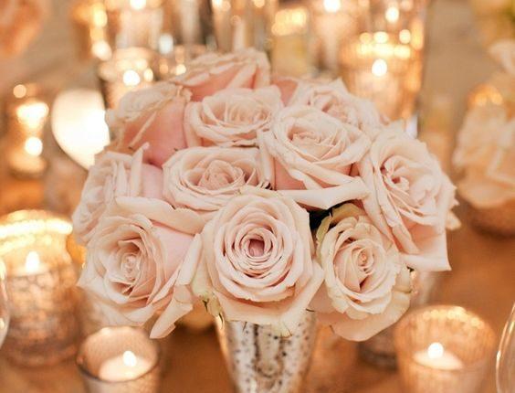 blush pink roses wedding centerpieces