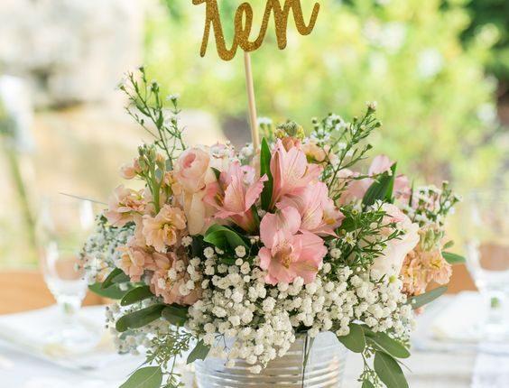 blush wedding flowers gold glitter wedding table numbers