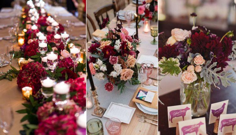 burgundy deep red wedding centerpieces