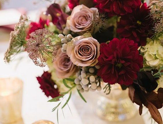dusty rose and burgundy wedding bouquet