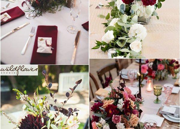 fall burgundy wedding centerpiece decor ideas