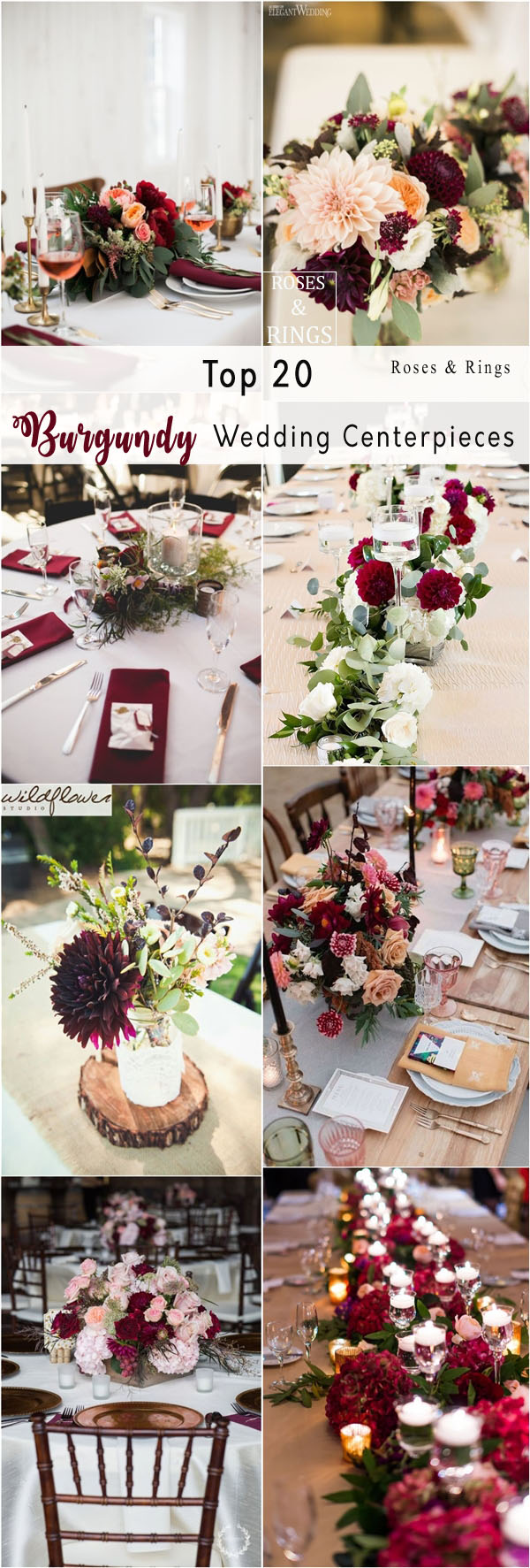 20 Burgundy Wedding Centerpieces | Roses & Rings