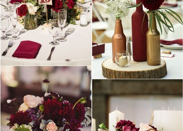fall burgundy wedding centerpiece ideas
