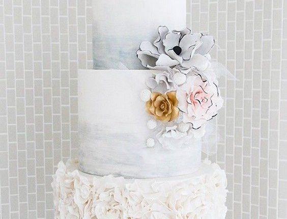 gray marble ruffed wedding cake