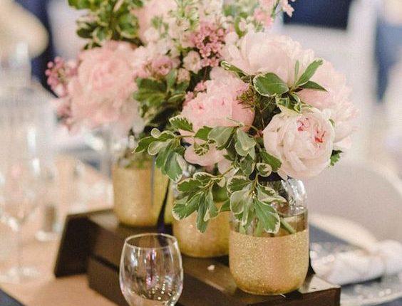luxury blush pink and gold wedding centerpiece idea