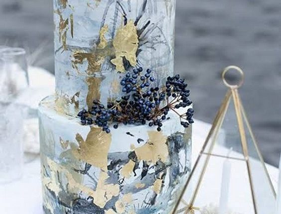 metallics and blues seaside marble wedding cake