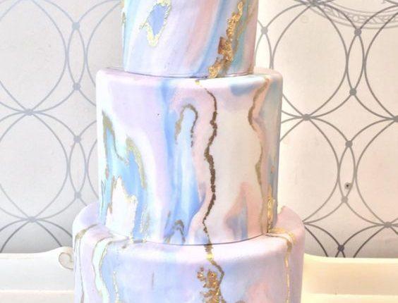pastel marble wedding cake