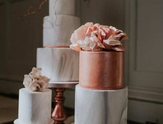 peach orange and grey marble wedding cakes