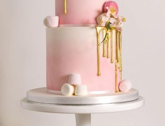 pink ombre drip wedding cake