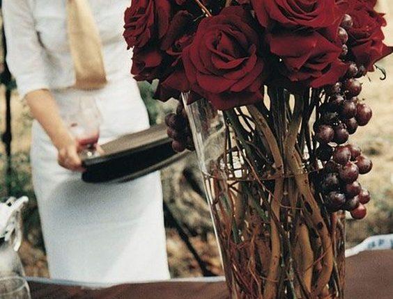 rustic fall burgundy tall wedding centerpiece