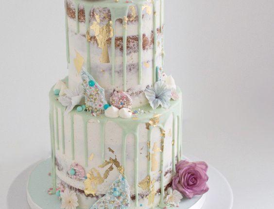 rustic naked mint drip wedding cake