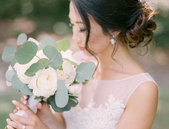 seeded silver dollar eucalyptus wedding bouquet