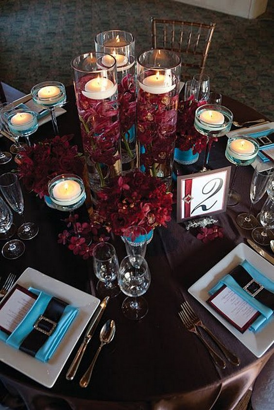 20 Burgundy Wedding Centerpieces Roses Amp Rings
