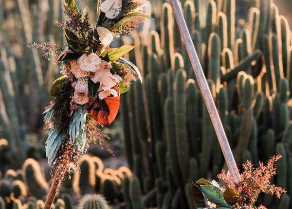 Boho Pampas Grass Triangle Wedding Arch 4