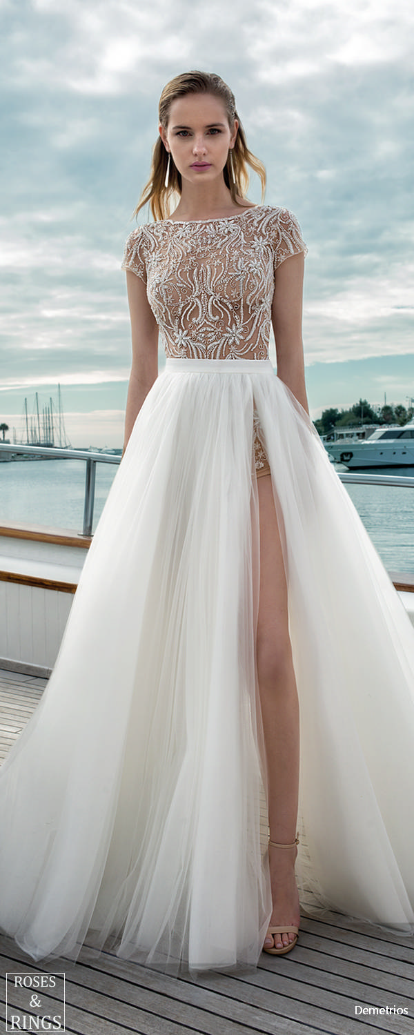 Demetrios Destination Beach Wedding Dresses 2019 Roses Rings