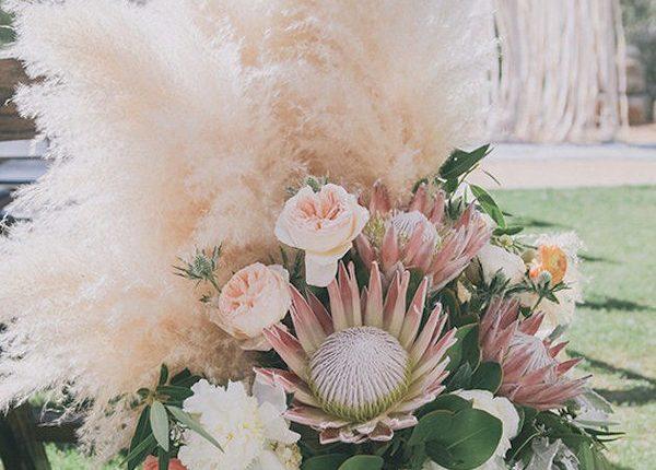 Pampas Grass and blush pink roses wedding decor