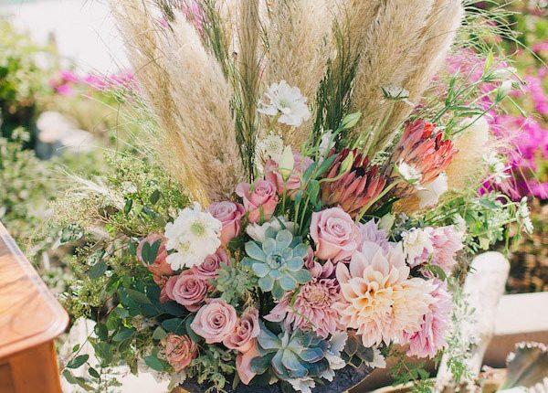 Pampas Grass and succulent wedding decor idea