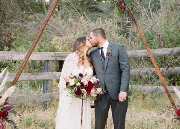 Pampas Grass burgundy fall wedding arch