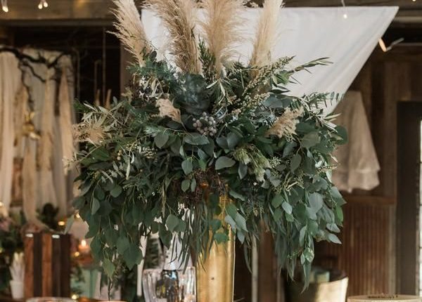 Rustic Glam centerpiece, protea, pampas grass, greenery wedding centerpiece