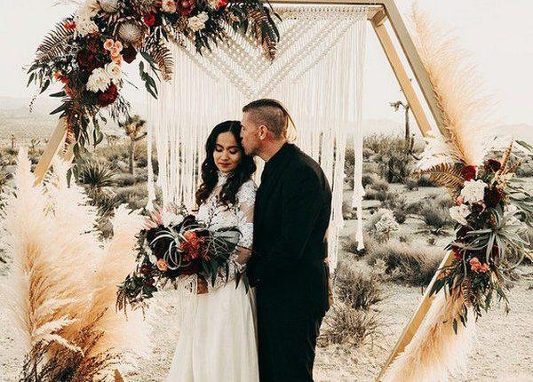 boho hexagon wedding arch with pampas grass