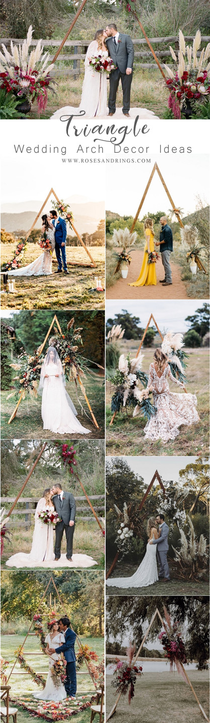 boho outdoor triangle wedding backdrop decor ideas