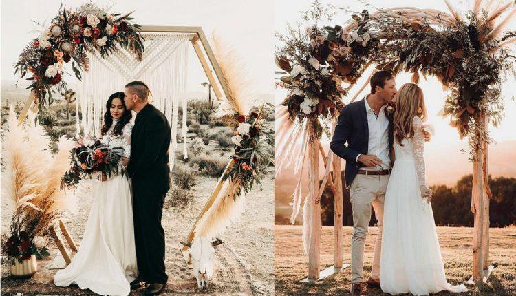 boho pampas grass wedding arches