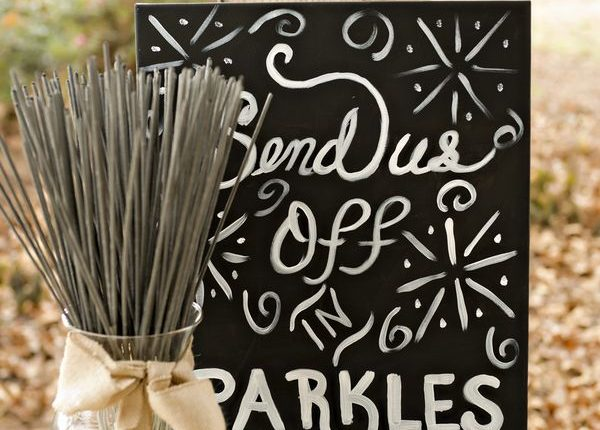 fall outdoor wedding sparkler