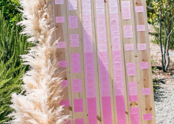 pampas grass wedding seating chart