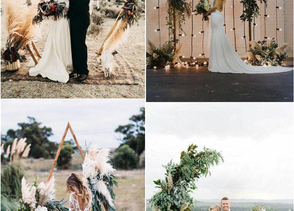 romantic boho pampas grass wedding arch ideas