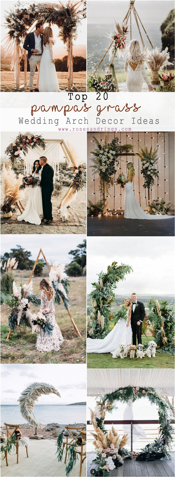 romantic boho pampas grass wedding arch ideas
