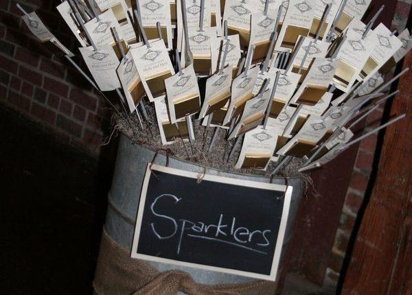 rustic country wedding sparkler send off display