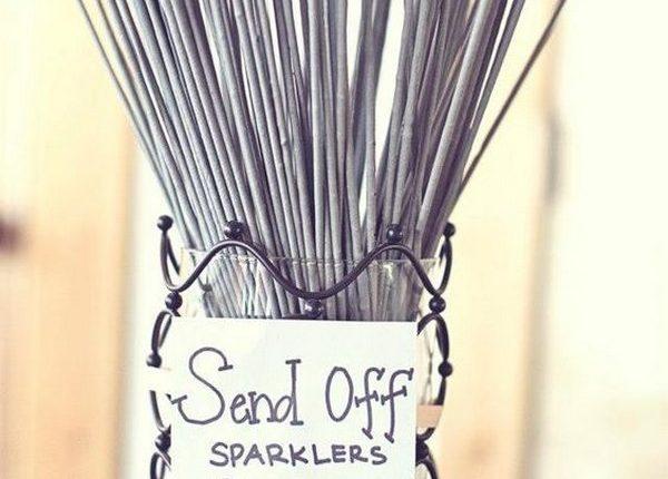 rustic country wedding sparkler send off display idea