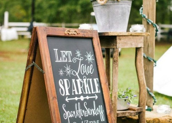 rustic outdoor farm wedding sign and sparkler send off