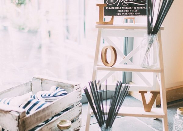 rustic wood crate andmason jar wedding sparkler decor