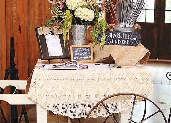 vintage country wedding sparkler send off decor ideas