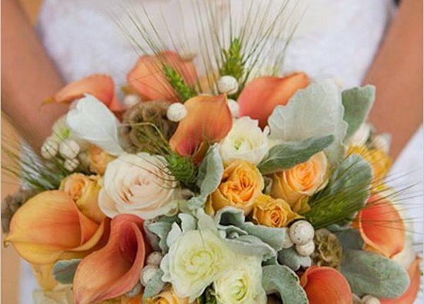 Apricot Wedding Bouquet, calla lilies, wheat grass, ranunculus