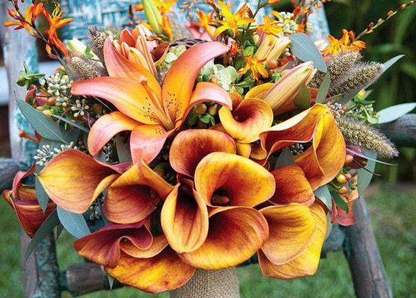 Lilies and burlap wedding bouquet