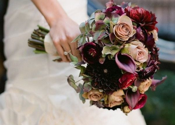 Rich and lush bouquet with burgundy calla lily and dusty roses