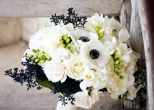 White anemone flowers with dark accents