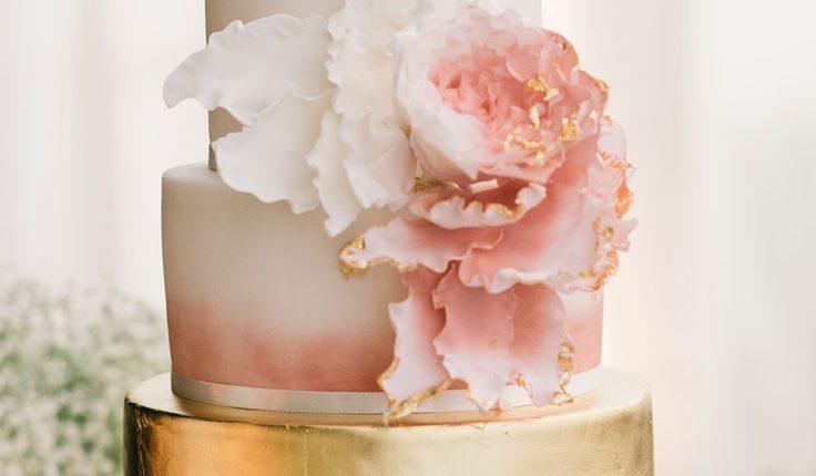 blush pink and gold wedding cake